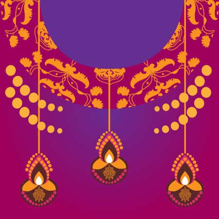 happy dussera illustration. Diwali banner poster banner on orange background with burning diya.