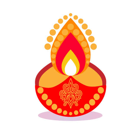 Diwali Candle Flat Design India Icon with Side Shadow.