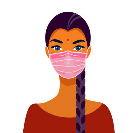 Indian girl student in mask. Portrait of a beautiful girl. Avatar. Face. Vector flat illustration. Illusztráció