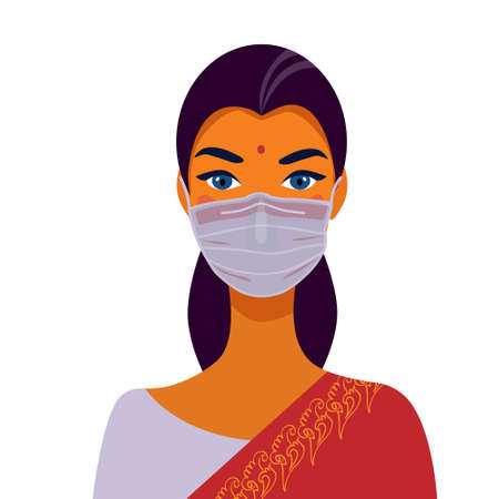 Indian woman in traditional dress and face mask. Portrait of a beautiful girl. Avatar. Face Ilustrace