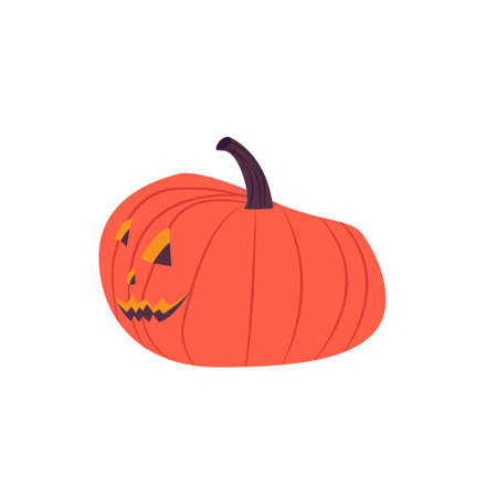 Orange Halloween pumpkin with a happy face on a white background. Lantern pumpkin.