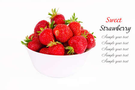 Fruits ripe strawberries on a platter isolated on white background photo