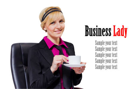 Adorable businesswoman in black suit drinking a Cup of coffee isolated on white background photo