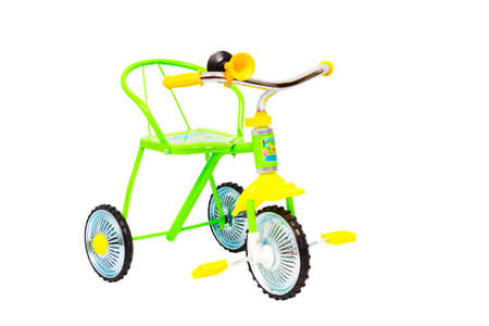 Three-wheeled Bicycle for children with signal isolated on white background photo