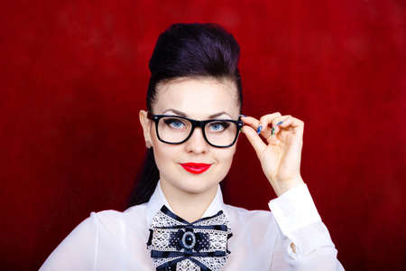 Business lady with glasses glasses closeup
