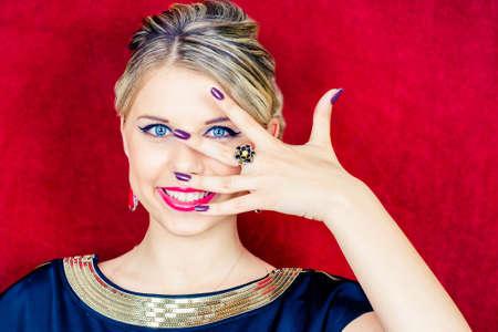 Portrait of a beautiful woman with make-up. Jewelry. Beauty. Fashion photo photo
