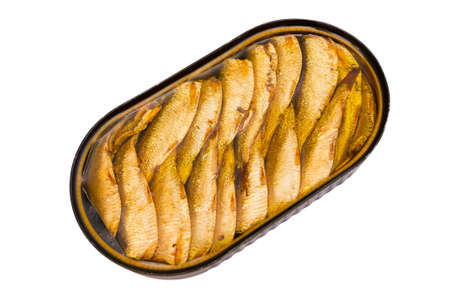 Sprats in a tin isolated on a white background photo