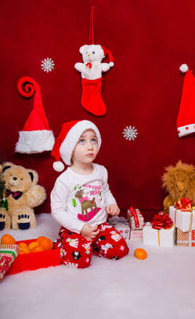 Cute little boy looks up in anticipation of a miracle