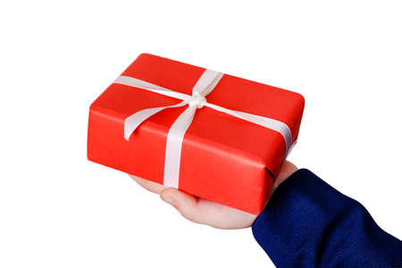 Close up man holding a gift for valentine day, birthday, mother's day.