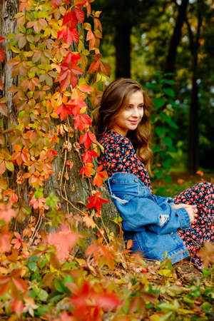 Pretty girl. Autumn stylish outfit. Adorable lady enjoy sunny autumn day. Fashionable clothes. Femininity and tenderness. Fall fashion. Woman walking in autumn park. Archivio Fotografico