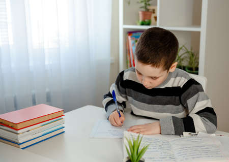 School pupil writing notebook doing home work at table, online education, distance learning, schooling