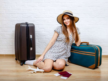 Staycation. The woman can not travel because of the quarantine. Concept of summer holidays and vacations at home. Reduce carbon footprint. Sustainable lifestyle and responsible travel