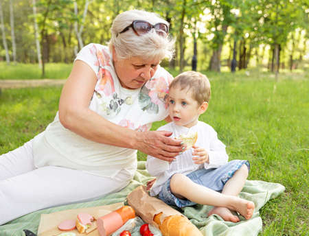 Grandmother spend time in holiday with grandson by picnic at the park. Small boy with grandmother having picnic in nature at sunset. People on summer picnic. Picnic with family. Eating, outside.