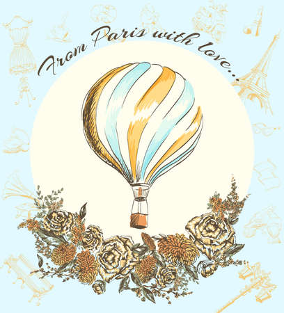 france: Greeting card welcome to Paris Journey