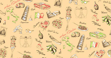 seamless texture welcome to Italy vector Illustration