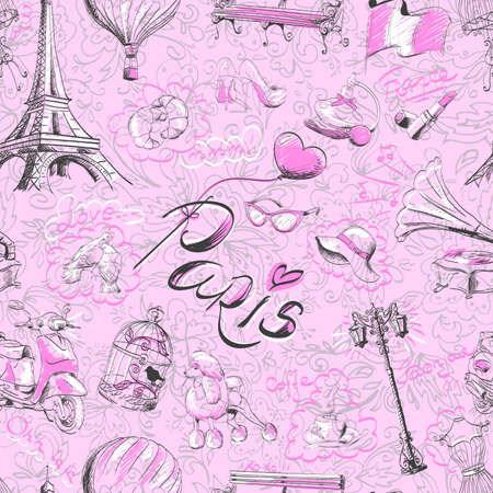 seamless pattern on the theme of Paris 向量圖像