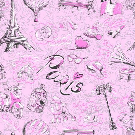 seamless pattern on the theme of Paris Illustration