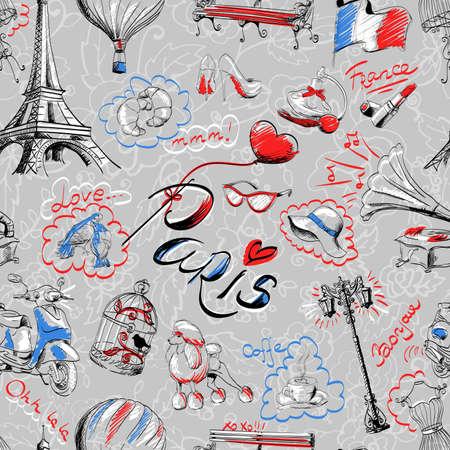 seamless pattern on the theme of Paris Vettoriali