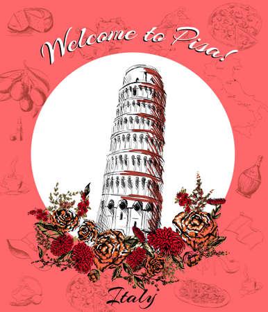 tower of pisa: postcard of Pisa, leaning tower of Pisa Illustration