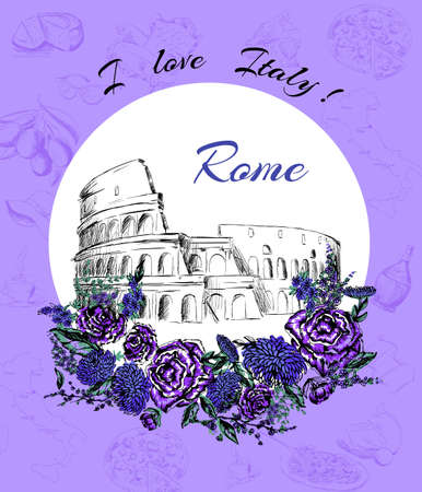 coliseum: postcard of Rome, Italy, stadium, Coliseum Illustration