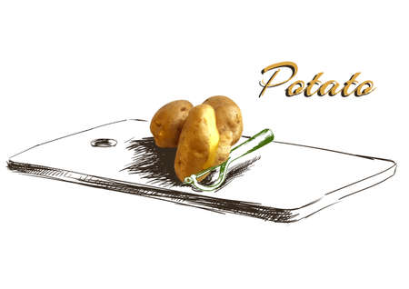 baked potato: potatoes on chopping Board with knife, drawn strokes, vector illustration