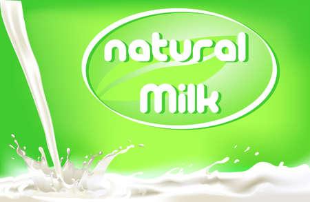 latte fresco: spruzzi di latte, progettazione package di prodotti lattiero-caseari Vettoriali