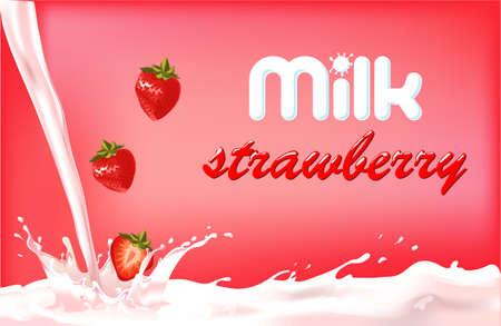 fresa: chapoteo de la leche con fresa, diseño de envase de los productos lácteos