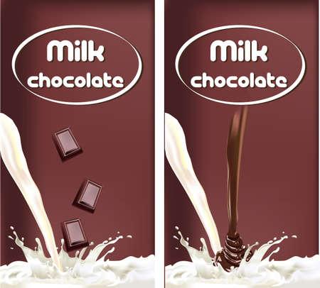 melk splash chocolade, ontwerp verpakking zuivelproducten