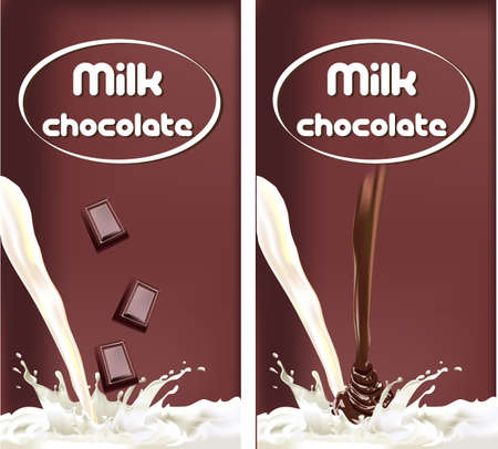 milk splash chocolate, design packaging dairy products Illustration