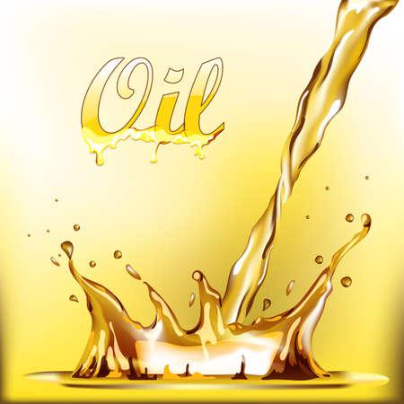 golden hair: Golden oil spray sunflower olive vector illustration