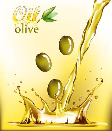 aceite de oliva: Spray de aceite de oliva de oro ilustración vectorial de girasol