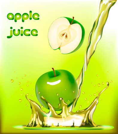 splashes of green juice apple, packaging design, vector illustration