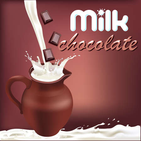dairy: milk splash chocolate, design packaging dairy products Vectores