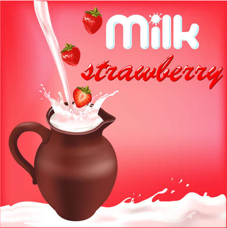 dint: milk splash with strawberry, package design of dairy products Illustration