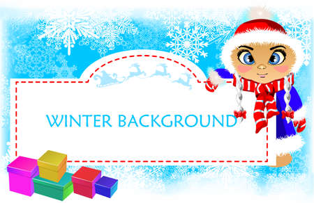 snow maiden: Winter background with snowflakes, banner, flyer, sale for new year and Christmas girl snow maiden Illustration