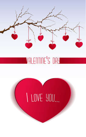 branch cut: Valentines day with cut out paper heart hanging on the branch. Vector illustration, greeting card, I love you