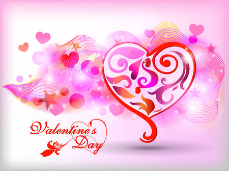 14: Happy Valentines Day Card Design. February 14. Vector blurred background, heart.