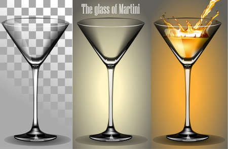 shaken: The transparent Glass of Martini with a splash of wine