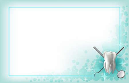 Poets je tanden protheses, tandheelkundige model van de kaak, spiegels en tandheelkundige instrumenten in het kantoor van de tandarts. achtergrond banner Stock Illustratie