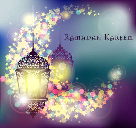 arabic background: Ramadan Kareem greeting on blurred background with beautiful illuminated arabic lamp and hand drawn calligraphy lettering.