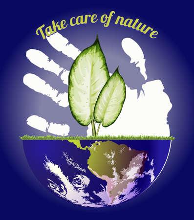 madre tierra: Va el verde, abstracto de globo de la madre tierra y hojas verdes, fondo para el D�a Mundial del Medio Ambiente.