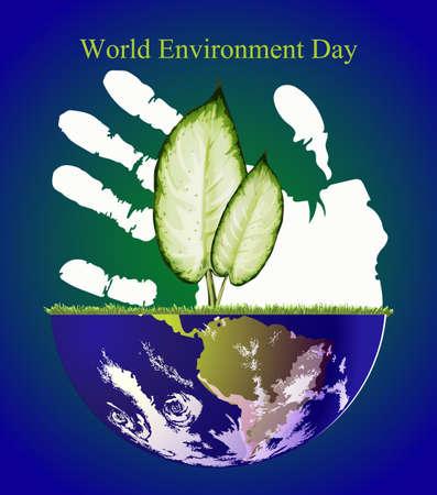 madre tierra: Va el verde, abstracto de globo de la madre tierra y hojas verdes, fondo para el Día Mundial del Medio Ambiente.