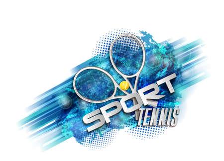 abstract blue background sport tennis racket ball vector illustration