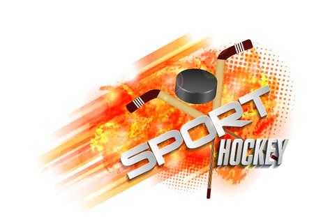 Text sports hockey, equipment, hockey stick and puck Illustration