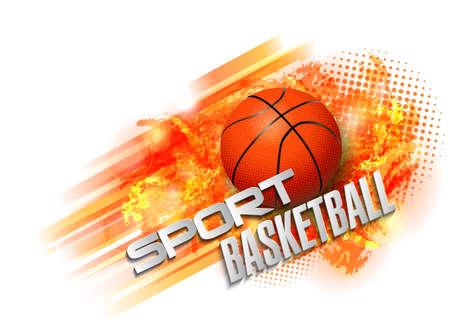 Basketball ball and text