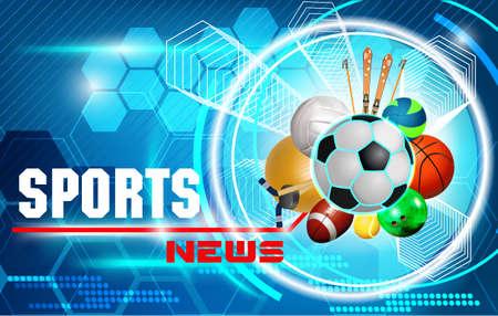 SPORT NEWS, balls, blue background