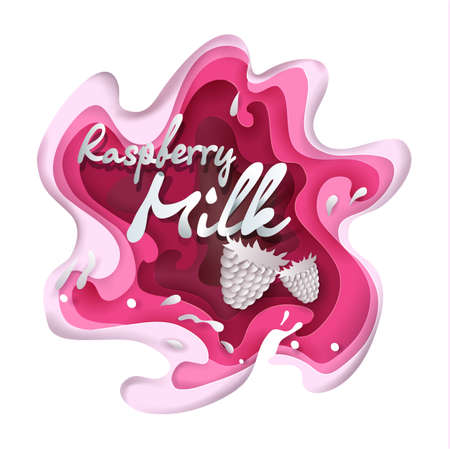 Raspberry milk splash vector illustration