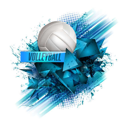 Volleyball text on an abstract background. Çizim