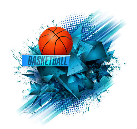 basketball Points, lines, triangles, text, color effects and abstract background vector illustration, sports Фото со стока - 93081656