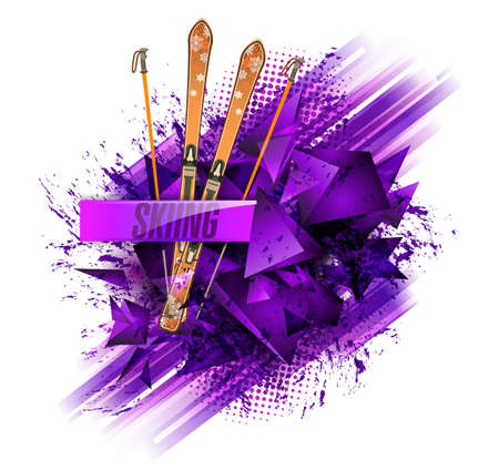 Abstract colored backgrounds, ski sport text, vektor